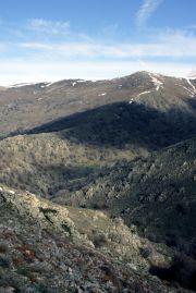 Gennargentu, streaked with snow, the highest mountains on Sardinia.