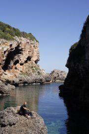 Impressive cliff coastline at the inlet of Caló de Rafalet.